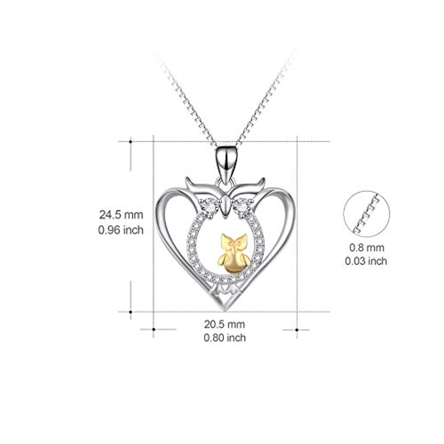 Angel caller Mother and Child Owls Sterling Silver Two-Tone Love Heart Owl Pendant Necklace for Women