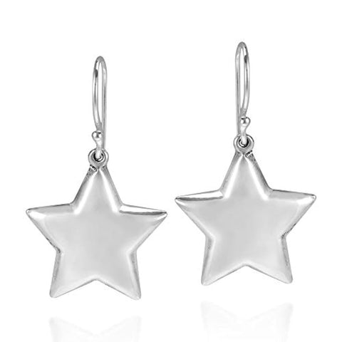 Silver Star Dangle Drop Earrings