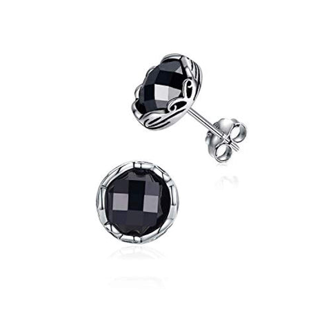 925 Sterling Silver Black Stud Earrings for Mens Small Gifts for Women
