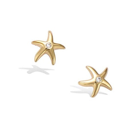 Yellow Gold plated Tiny Cute Trendy Starfish Star Stud Earrings Setting Cubic Zirconia CZ for Women Girls