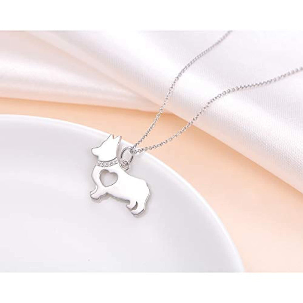 925 Sterling Silver Hollow Heart Corgi Dog Pendant Necklace Jewelry for Women Girls Birthday Gift, 18