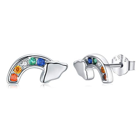 Rainbow Earrings 925 Sterling Silver Cloud Earrings Cubic Colorful Zirconia Rainbow Stud Earrings for Women Hypoallergenic Earrings Gifts