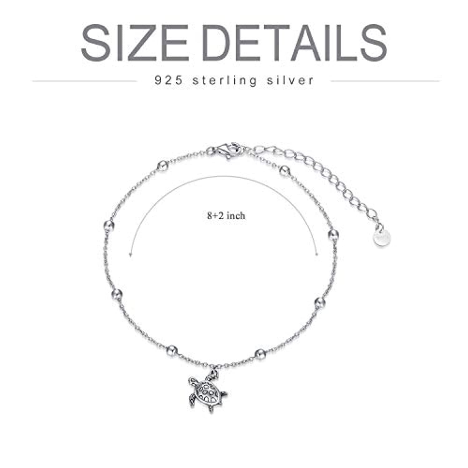 S925 Sterling Silver Turtle Ankle Bracelets for Women Girls Gifts