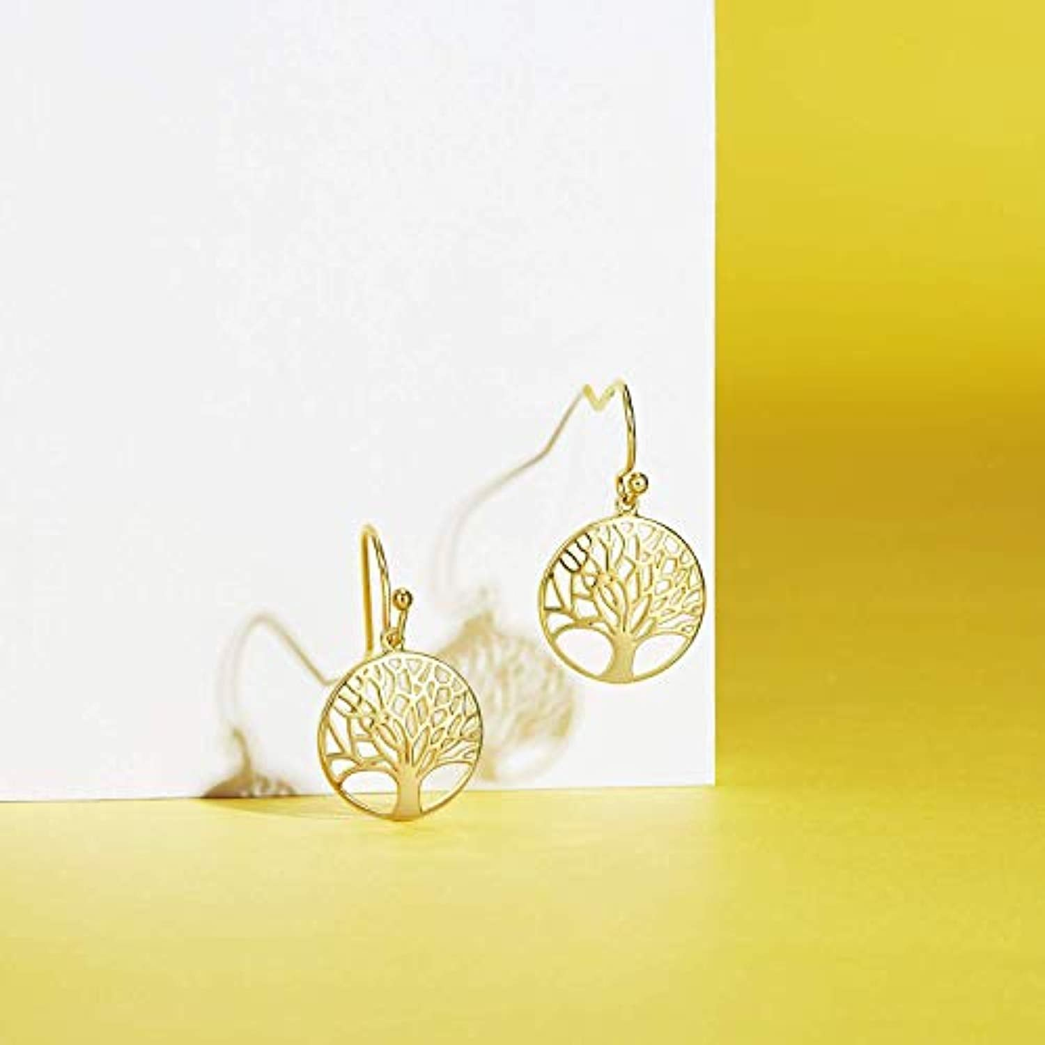 Gold Plated  Tree of Life Dangle Earrings Minimalist Jewelry Gifts for Women Mom Lover Family with Gorgeous Jewelry Box