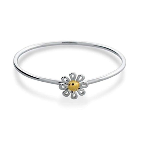 Minimalist Simple Two Tone Gold Plated Daisy Flower Bangle Bracelet For Women For Girlfriend 925 Sterling Silver