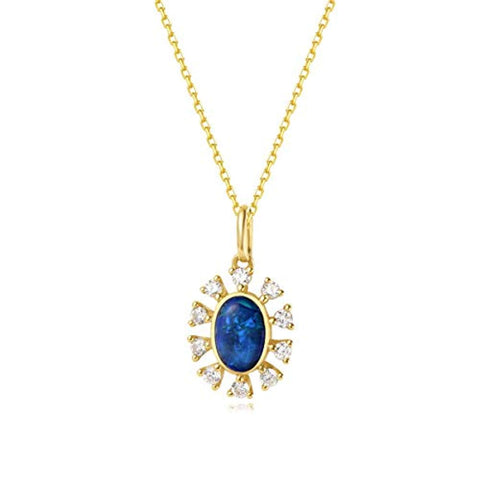18K Solid Yellow Gold  Diamond & Real Genuine Natural Fire Opal Halo Pendant Necklace Elegant October Birthstone Fine Jewelry Gift for Women