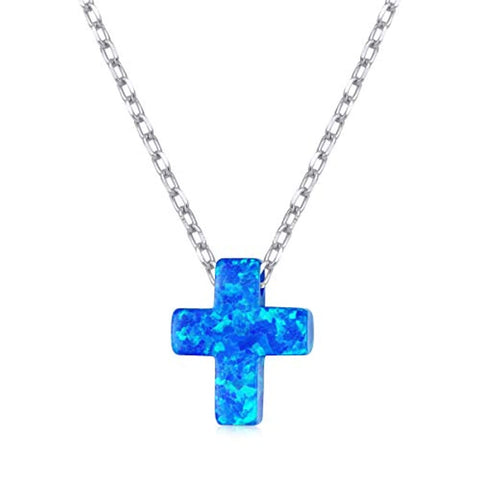 Lab Created Blue Opal Cross Pendant
