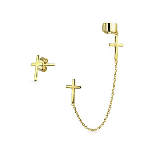 Cartilage Cross Ear Lobe Earring Chain Ear Cuff Clip Wrap Stud Helix Earring Set 14K Gold Plated 925 Sterling Silver