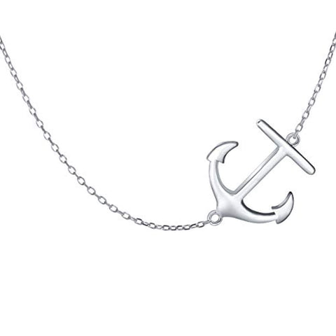 Sideway Anchor 925 Sterling Silver Pendant Necklace for Women Girls