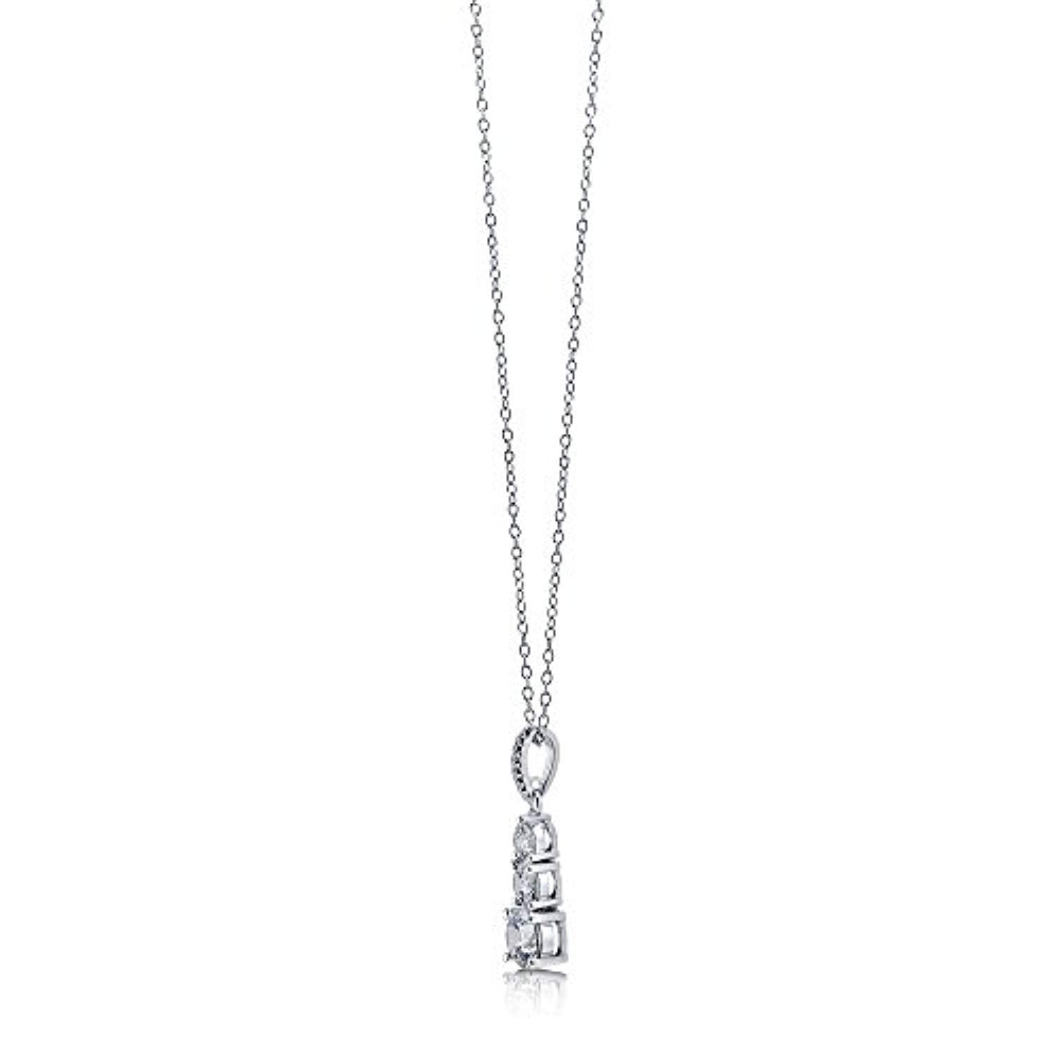 Rhodium Plated Sterling Silver 3-Stone Pendant Necklace Made with Swarovski Zirconia Round