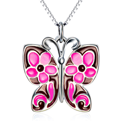 Animal Rose Red Butterfly Shaped Necklace Wholesale 925 Sterling Silver Necklace For Girls