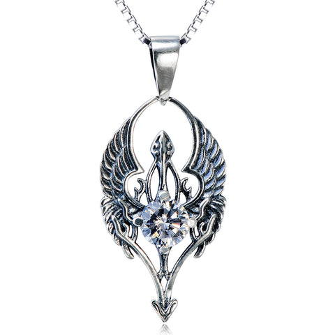 Symbolic Wings Necklace White Crystal Silver Wholesale 925 Sterling Silver Necklace