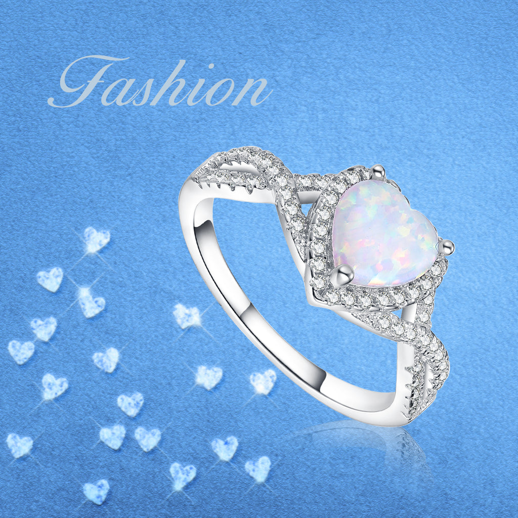 Finger Rhodium Plated Jewelry Zirconia and Opal 925 Silver Latest Ring Designs For Girls