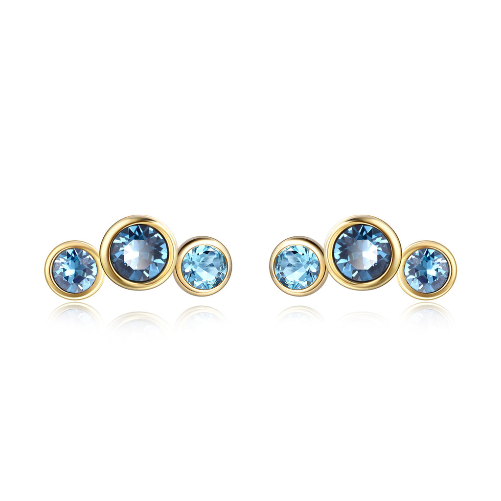 Crystal Stud Earrings Gemstone Blue Color Silver Sterling Earrings