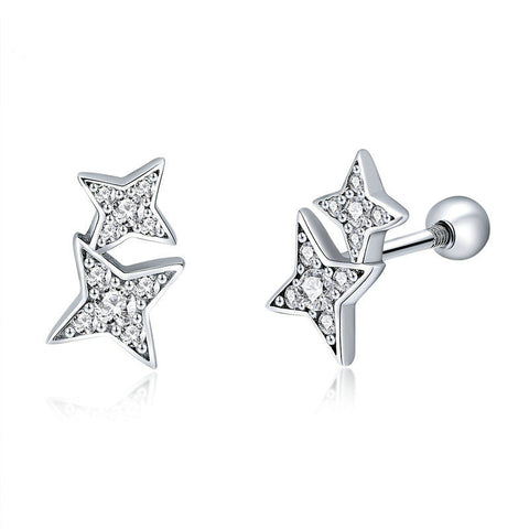 Sparkling Star Meteor Luminous Crystal Stud Earrings