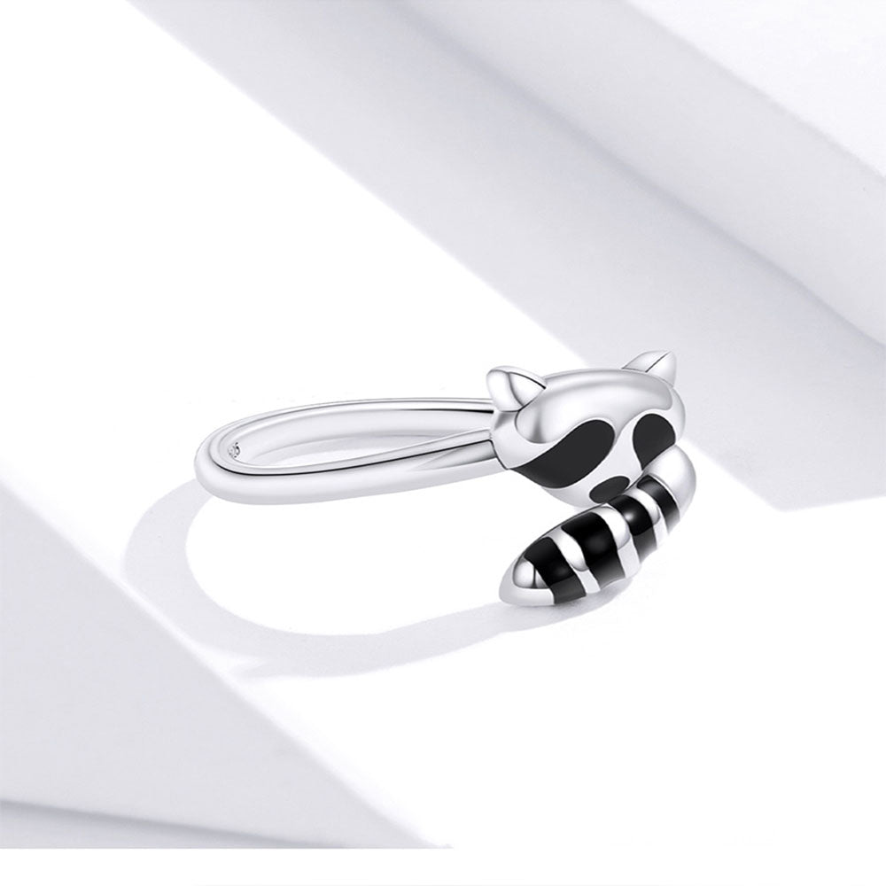 925 Sterling Silver Cute Raccoon Finger Rings Precious Jewelry For Women