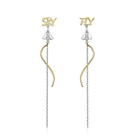 Fly to Sky Long Chain Drop Earrings
