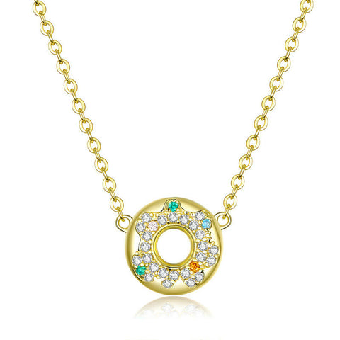 925 Sterling Silver  Honey Cake Donuts Round Chain Short Necklaces for Girlfriend Initial Design Gold Color Jewelry