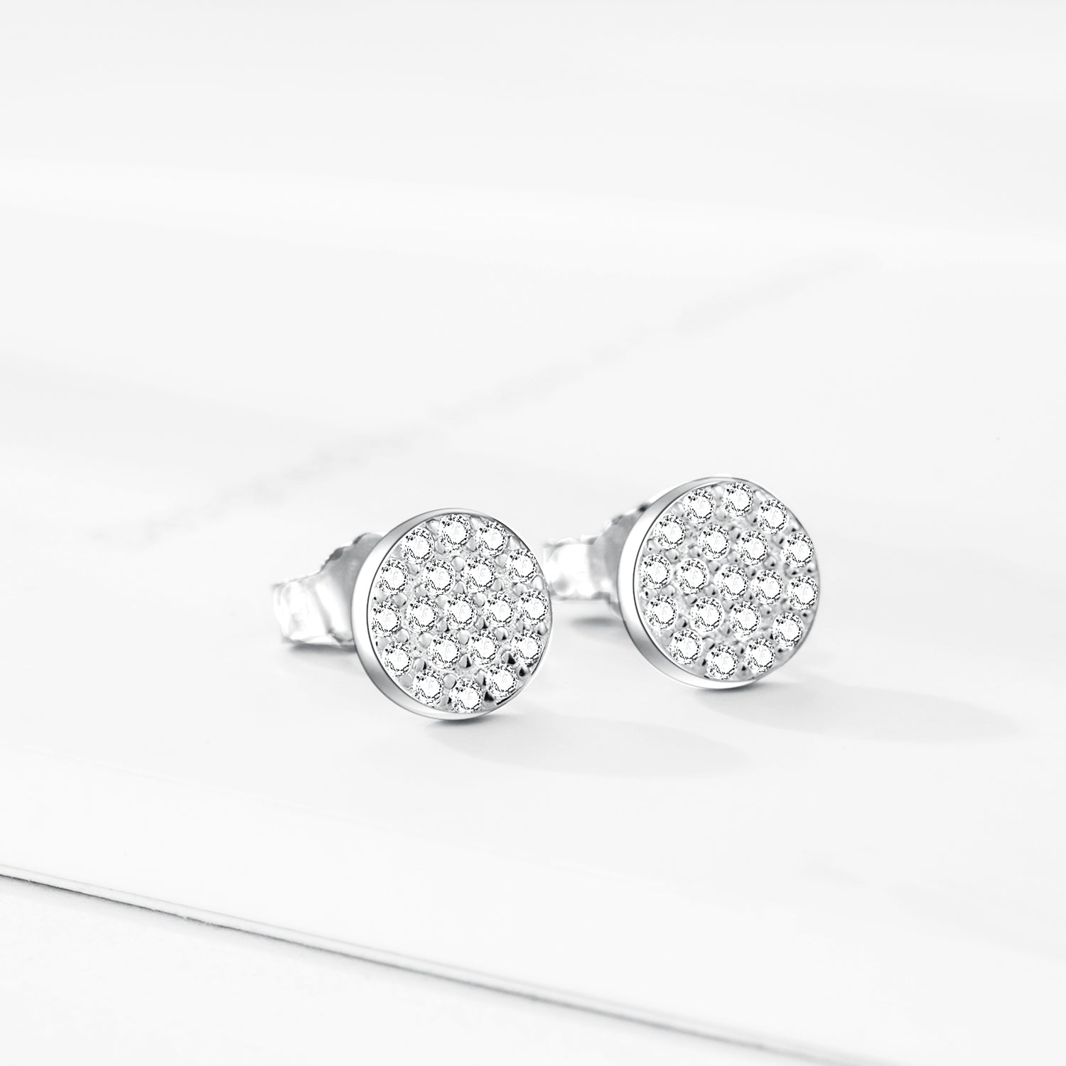 Wholesale Custom Small Moq Light Weight Round Zirconia Earrings For Women