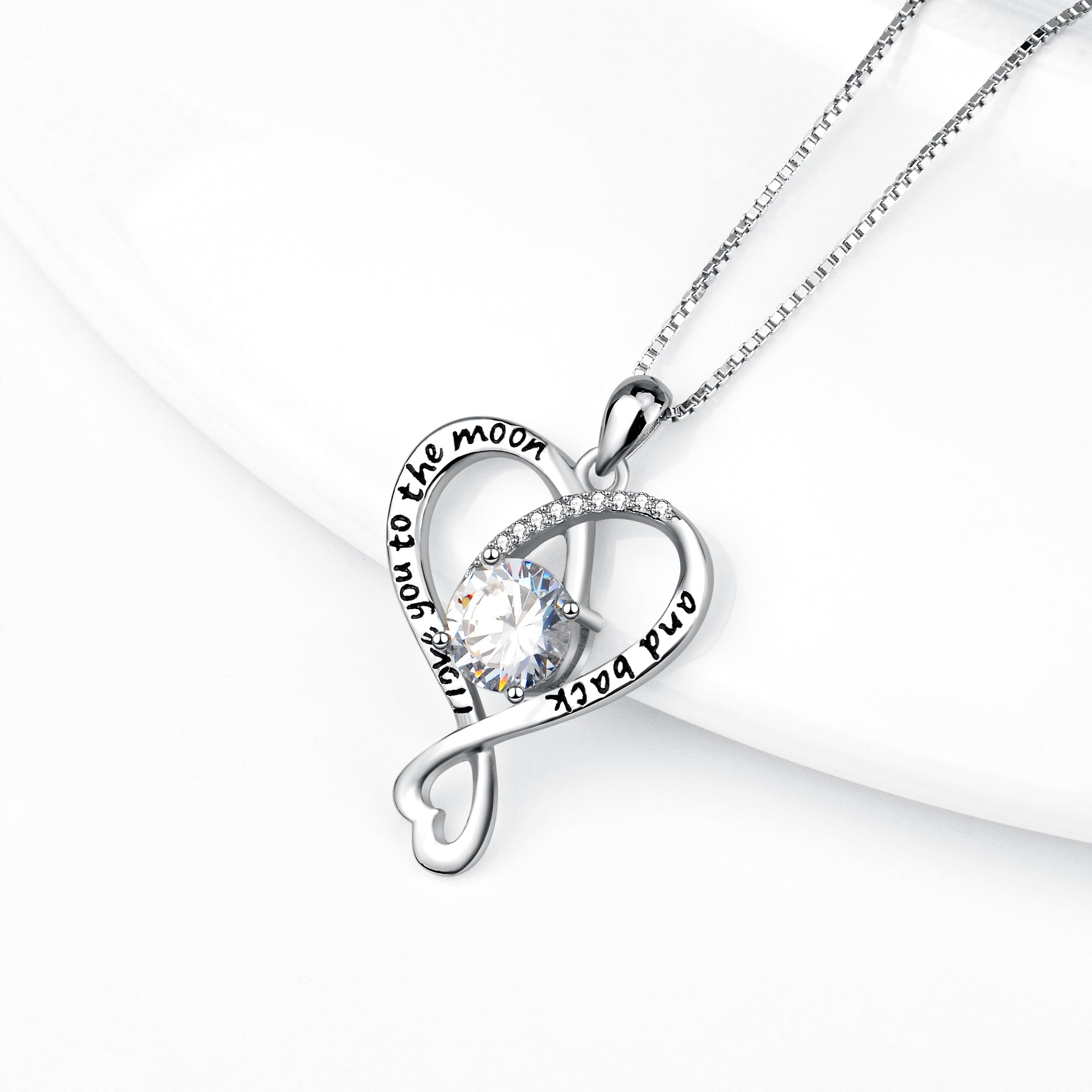 Message Necklace Fashion S925 Silver White Cubic Zircon Double Heart Necklace