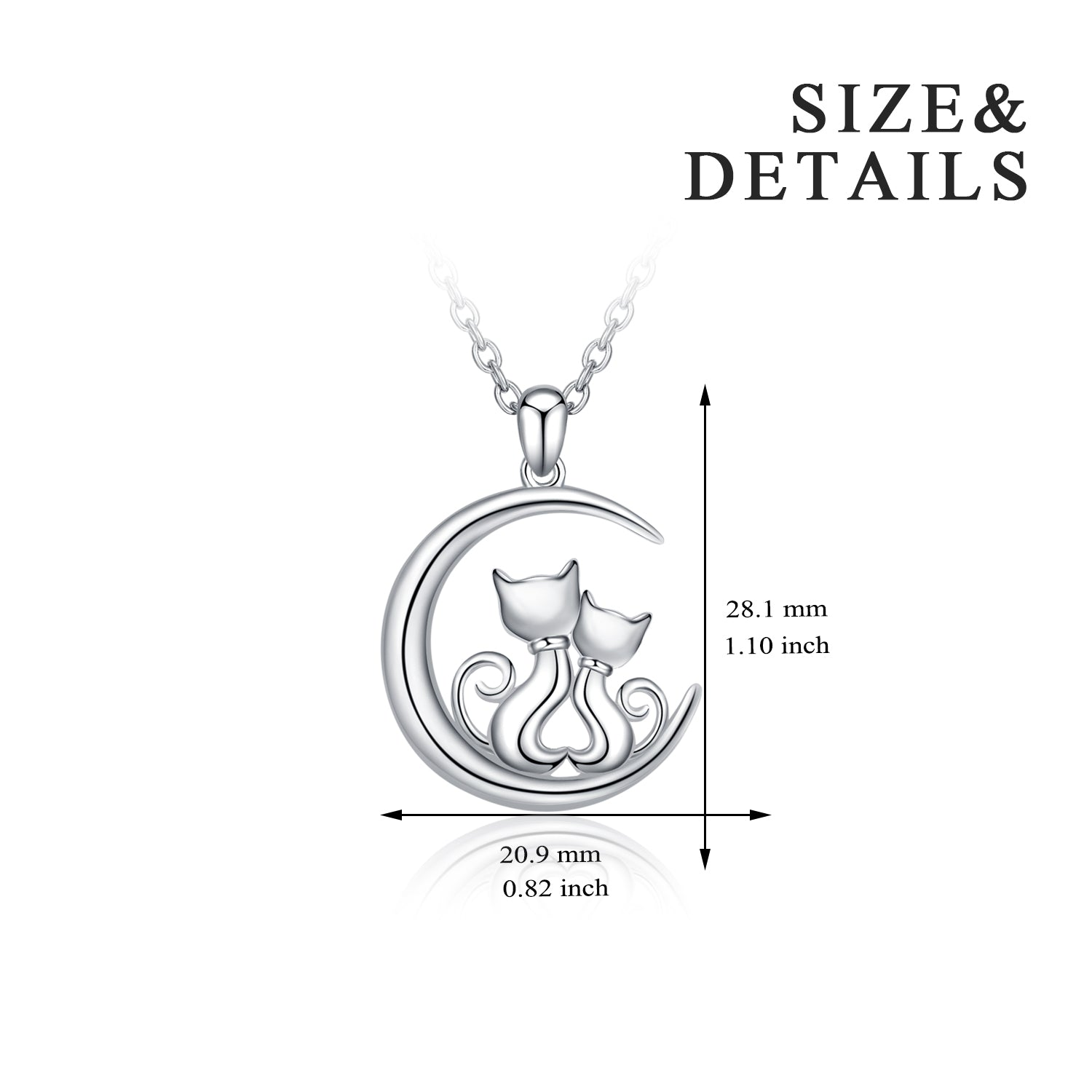 Double Cat & Moon Necklace Curved Moon Animal Silver Necklace