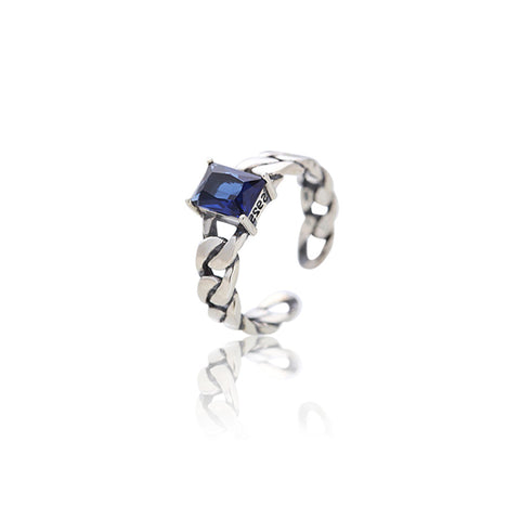 Japan And Korea 925 Sterling Silver Twist Ring Chic Wind Cold Light Geometric Simple Sapphire Thai Silver