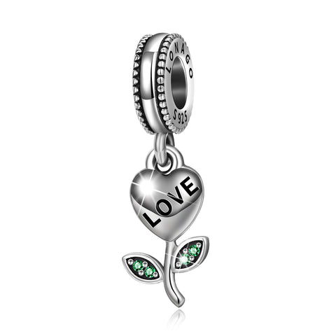 Love Plant Beads Green Leaves 925 Sterling Silver Jewelry Design