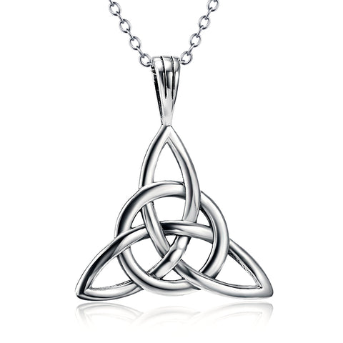Silver Good Luck Irish Celtic Triangle Knot Pendant Necklace