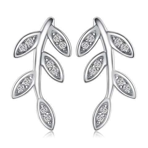Leaf Cubic Zirconia  Stud Earrings
