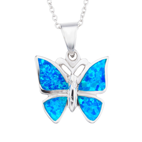 Opal Butterfly Necklace Blue Gemstone Silver Animal Necklace