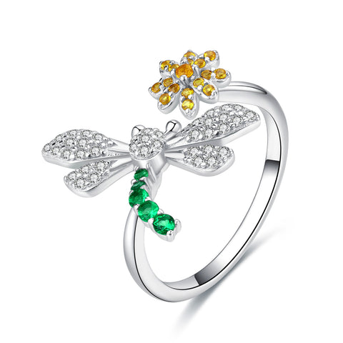 dragonfly and daisy ring
