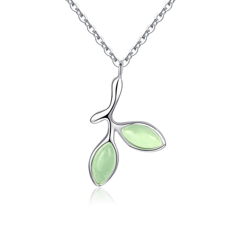 925 Sterling Silver Green Leaves Delicate Opal Pendant Short Chain Bud Leaf Necklace