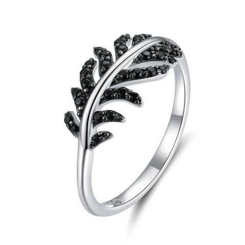 925 Sterling Silver Exquisite Feather Finger Rings for Girlfriend Wedding Band Engagement Statement Jewelry