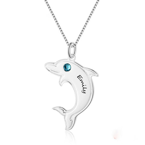 Dolphin Shape Name Necklace Personalized Birthstone 925 Sterling Silver Necklaces & Pendants Gift For Her