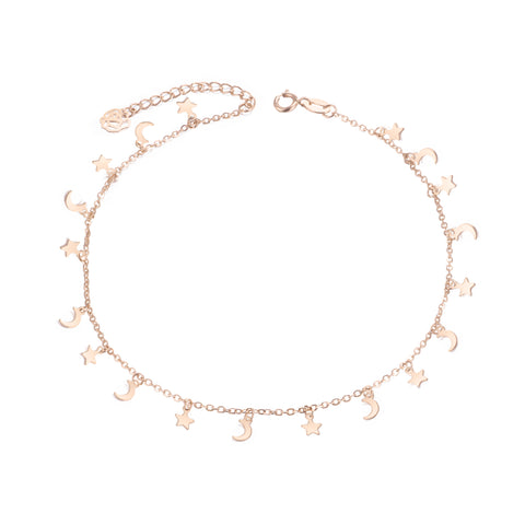 18K Gold European And American Personality Fashion Fan Star Moon Anklet