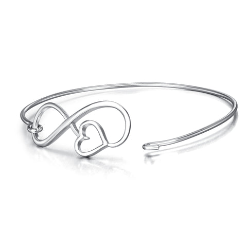 Heart Eight Silver Wire Line Bangle Girlfriend Birthday Silver Bangle
