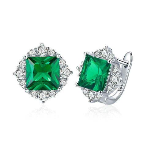 Green Square Zircon Stud Earrings