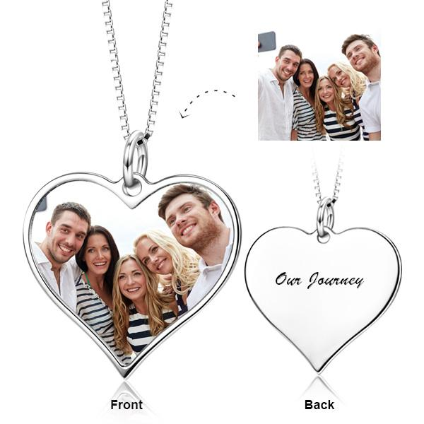 925 Sterling Silver Love Heart Personalized Color Photo Necklace