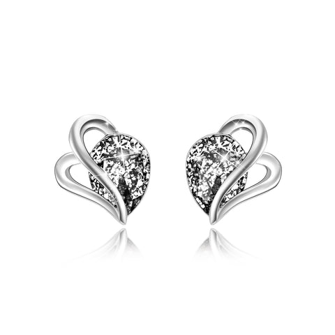 Korean Style  Real Silver Rhodium Plated Water Drop Zircon Stud Earrings