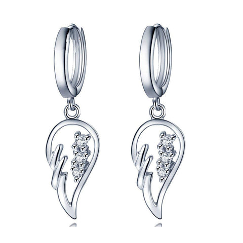 S925 Sterling Silver Personality Goddess Fan Korean Version Of The Micro-Inlaid Wings Earrings Jewelry Earrings Cross-Border Dedicated