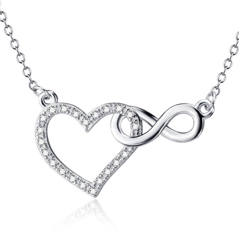 Cubic Zirconia Interlocking Heart Infinity Necklace  Silver Necklace