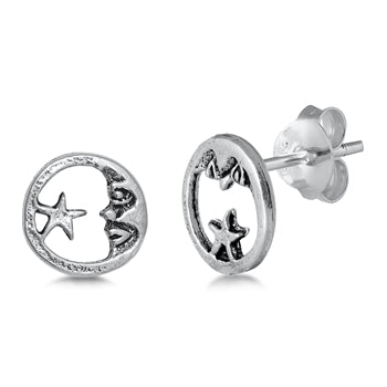 Silver  Moon & Star Stud Earrings