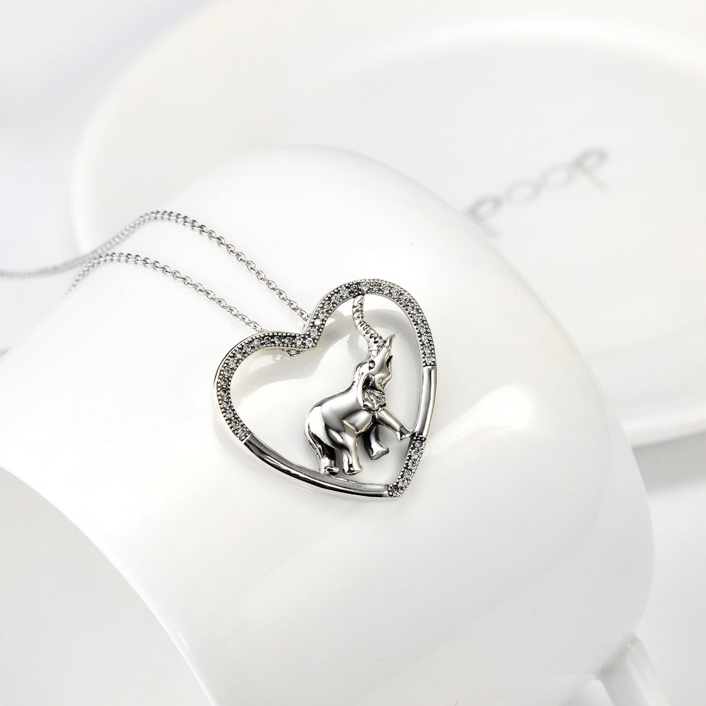 Silver Cubic Zirconia and Crystal Heart Elephant Necklace New Arrival