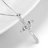Heart Cross Necklace 925 Sterling Silver Zirconia Bright Elegant Lady Necklace
