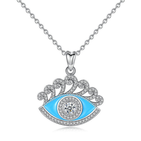 S925 sterling silver Evil eye necklace pendant cz  jewelry For Women