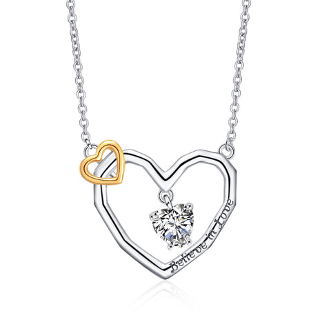 Double Heart Love Jewelry Believe in Love Engraved Heart Shape Necklace
