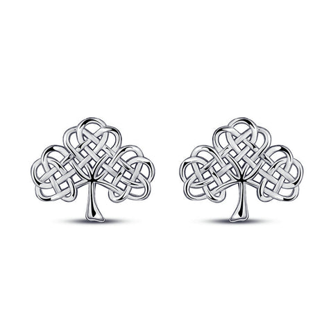 Celtic knot clover earrings S925 silver earrings vintage jewelry for women