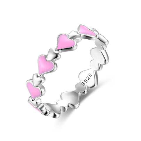 Drop oil heart shape ring S925 sterling silver ring fashion wild for girl