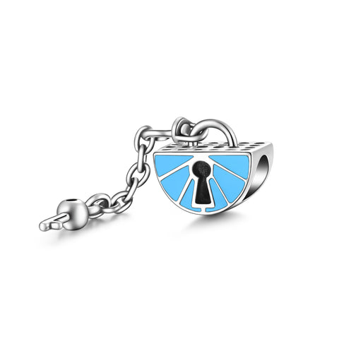 Key to My Heart Charm Beads Blue Enamel Lock Shape Silver Charms