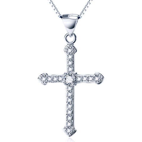Religious White Cubic Zirconia Cross Necklace Factory 925 Sterling Silver Necklace